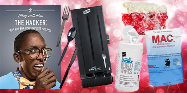 HDi Advantage February 2018, buy smartstock cutlery- get a free dispenser, Sanitizing multi-surface wipes, chemical label reading 101, ice and snow melt and skinny cherry poke cake