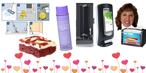 HDi Advantage February 2019, smartstock and Xpressnap dispensers, Airlift Xcelente, How To Strip Floors, ice and snow melt and Red Velvet Cheesecake Brownies