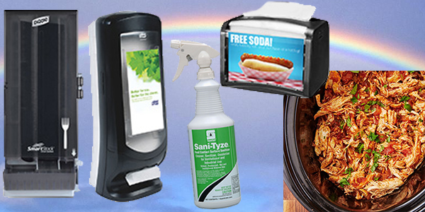 HDi Advantage April 2021, Sani-Tyze, Xpressnap napkin dispensers, Smartstock Tableware dispensers, Crockpot Salsa Chicken