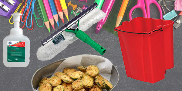 HDi Advantage Newsletter August 2018-  Hand sanitier in pump bottles, visa versa squeegees, mop bucket combo's dirty water bucket, Fried Zucchini