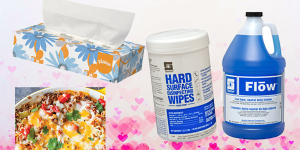 HDi Advantage February 2020, New Product FLOW, FAQ on Sickness at the office, Facial tissue, ice and snow melt and One Pot Stuffed Pepper Casserole