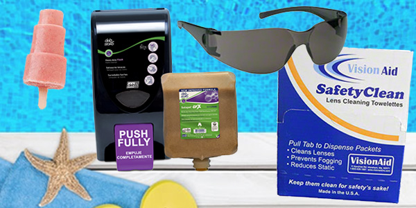HDi Advantage Newsletter July 2018- Free Deb Dispensers, safety glasses / eye protection, lens wipes, July recipe- Banana Strawberry Pops